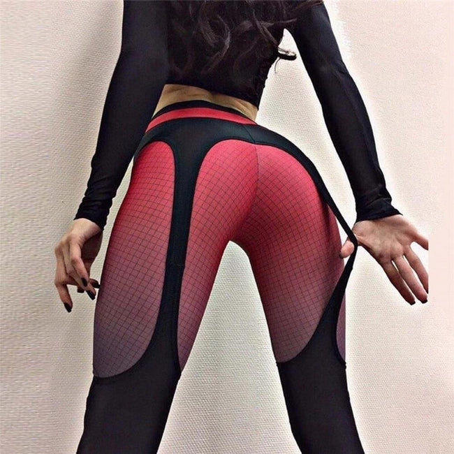 Booty Push Up Garter Pattern Leggings workoutleggings Red Small