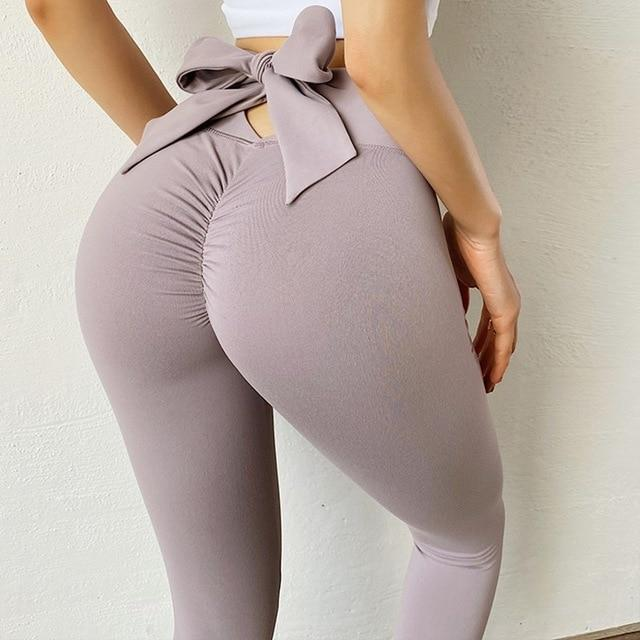Bowknot Lift Hip Sports Pants workoutleggings Grey Pink Large
