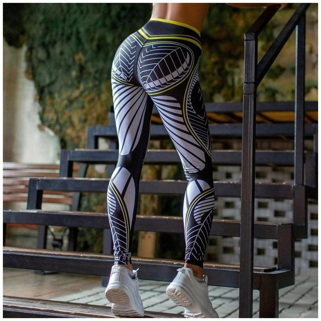 DIGITAL PRINTED GYM LEGGINGS workoutleggings Yellow Medium CHINA