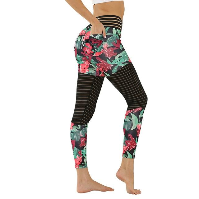 Floral Print Sports Yoga Pants workoutleggings green Xtra Large