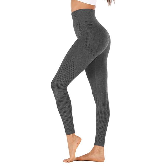 High Waist Stretch Sport Leggings workoutleggings gray style2 Small