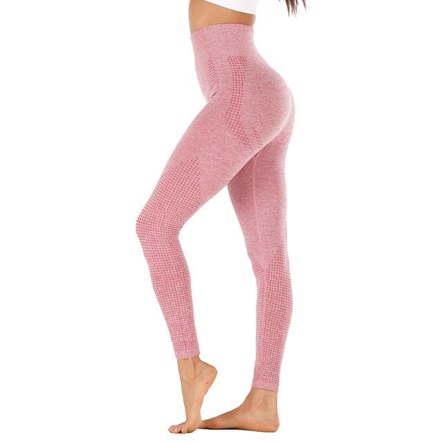High Waist Stretch Sport Leggings workoutleggings pink style2 Large