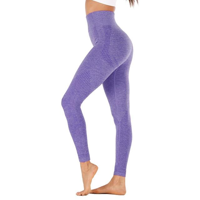 High Waist Stretch Sport Leggings workoutleggings purple style2 Large