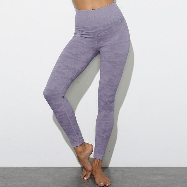High Waist Stretch Sport Leggings workoutleggings purple style3 Small