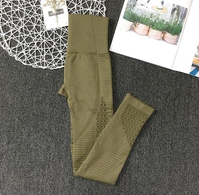 Hollow-Out Seamless Sports Leggings workoutleggings legging A Army green Large