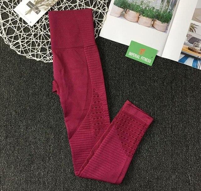 Hollow-Out Seamless Sports Leggings workoutleggings leggings A Wine red Medium