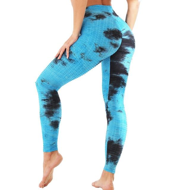 Jacquard Jogging Tie and Dye Yoga Pants workoutleggings black blue Small