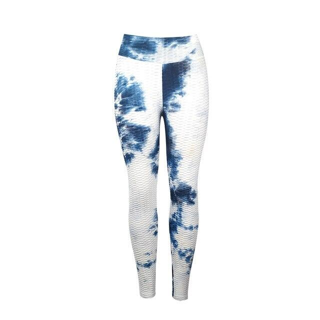Jacquard Jogging Tie and Dye Yoga Pants workoutleggings blue white Small