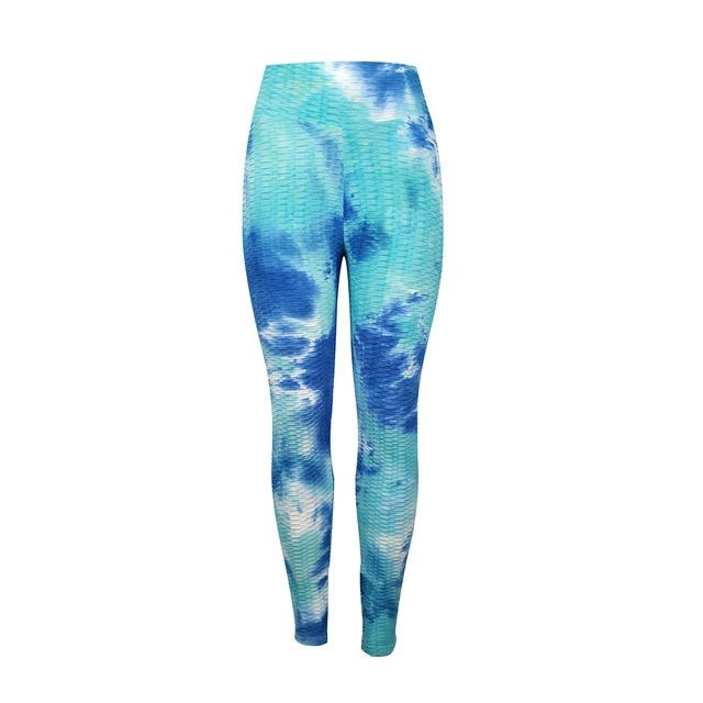 Jacquard Jogging Tie and Dye Yoga Pants workoutleggings dark light blue Small