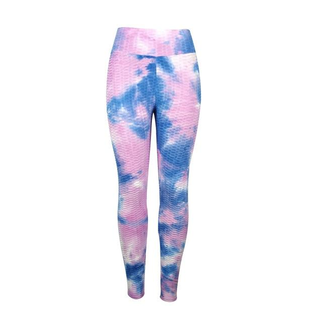 Jacquard Jogging Tie and Dye Yoga Pants workoutleggings purple blue Small