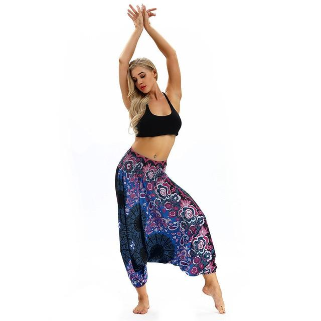 Loose Baggy Boho Yoga Trousers Baggy workoutleggings Purple One Size CHINA