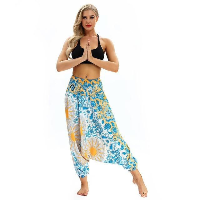 Loose Baggy Boho Yoga Trousers Baggy workoutleggings White One Size CHINA
