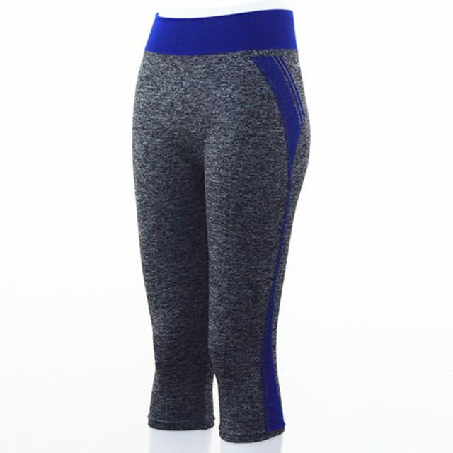 Quarter Length Yoga Pants workoutleggings Blue Small