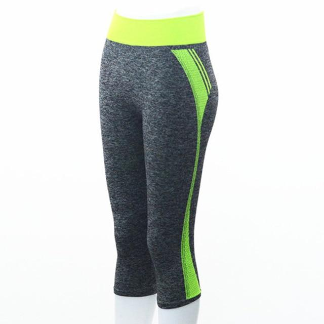Quarter Length Yoga Pants workoutleggings Green Large