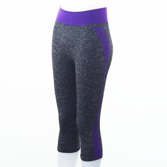 Quarter Length Yoga Pants workoutleggings Purple Small
