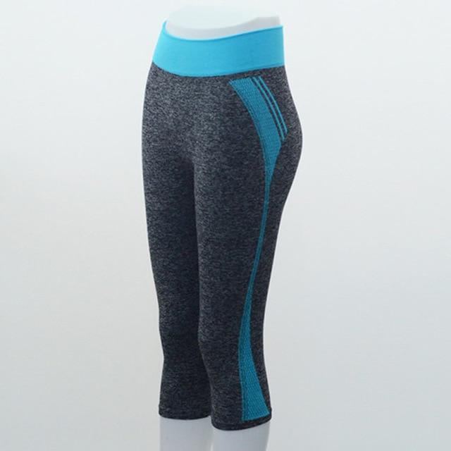 Quarter Length Yoga Pants workoutleggings Sky Blue Small