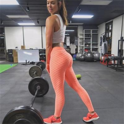 Sexy Scrunch Butt High Waist Yoga Pants workoutleggings Orange Large