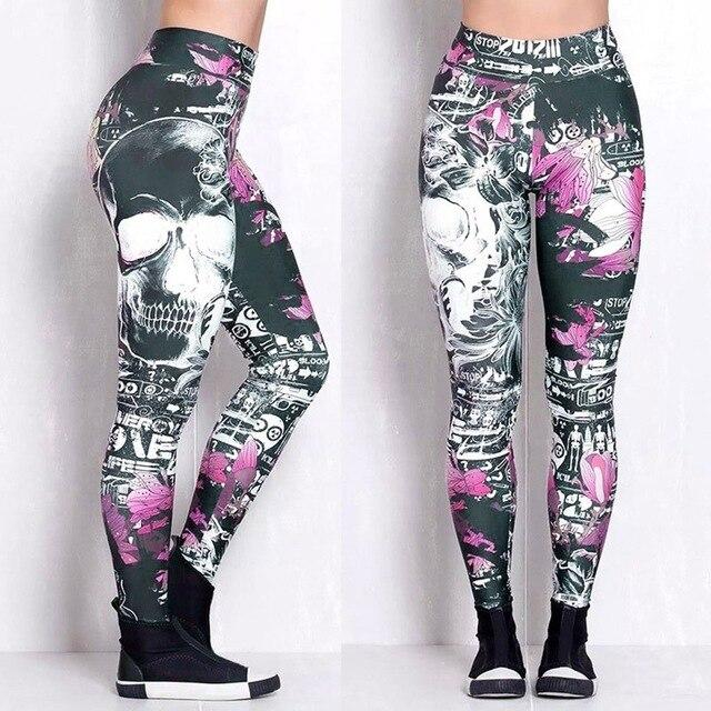 Skeleton Skull Pattern Leggings workoutleggings 2 Meduim CHINA