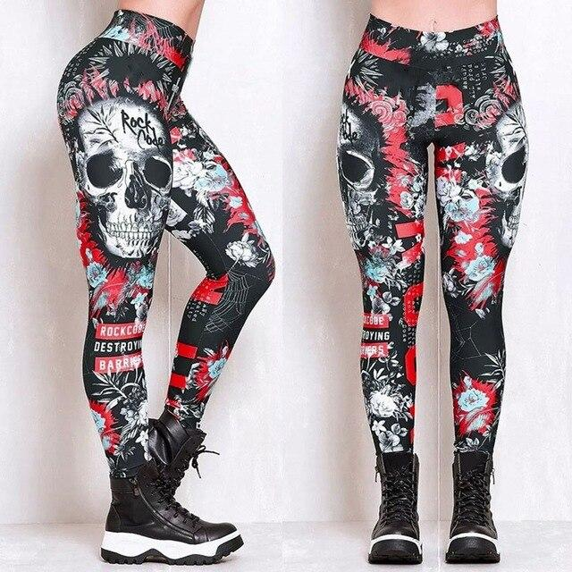 Skeleton Skull Pattern Leggings workoutleggings 3 Xtra Large CHINA