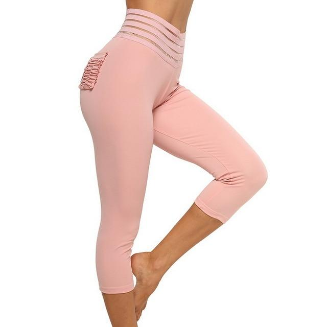 Striped Ruched Booty Pocket Capri Leggings workoutleggings pink 01 Large