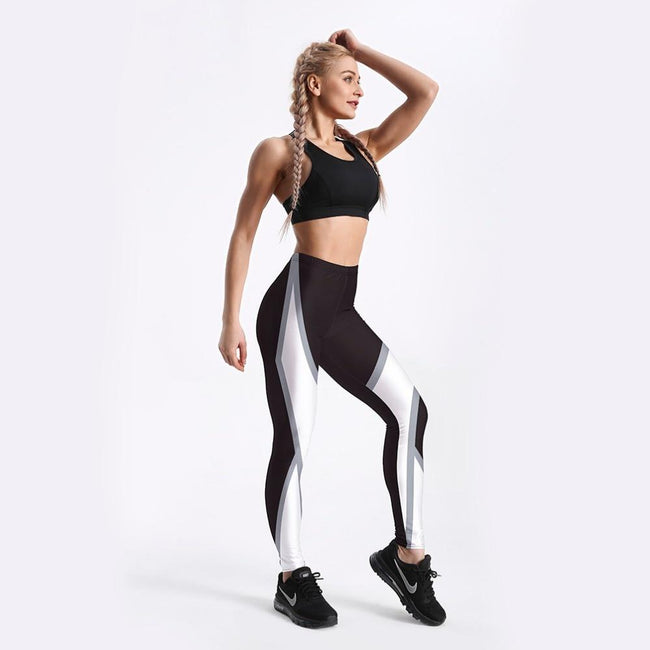 White Around Printed Fitness Leggings workoutleggings
