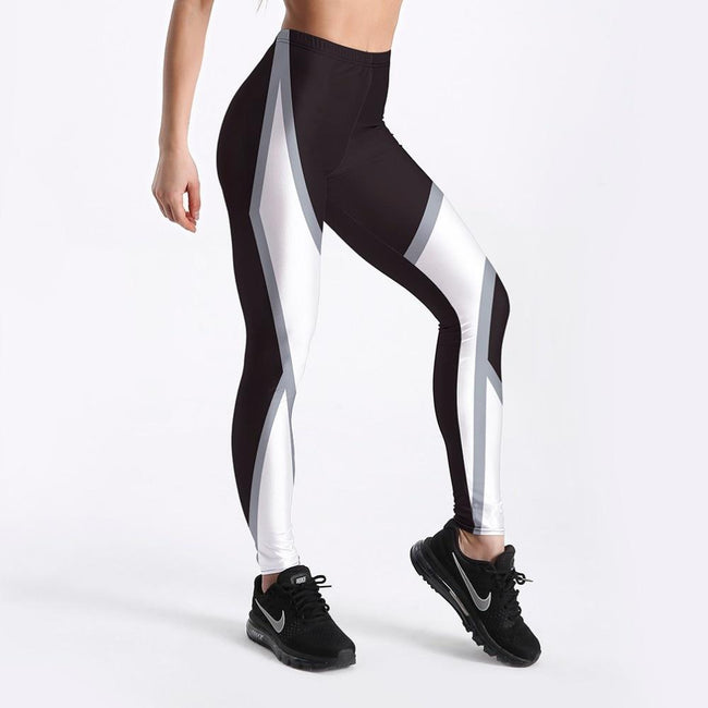 White Around Printed Fitness Leggings workoutleggings Small