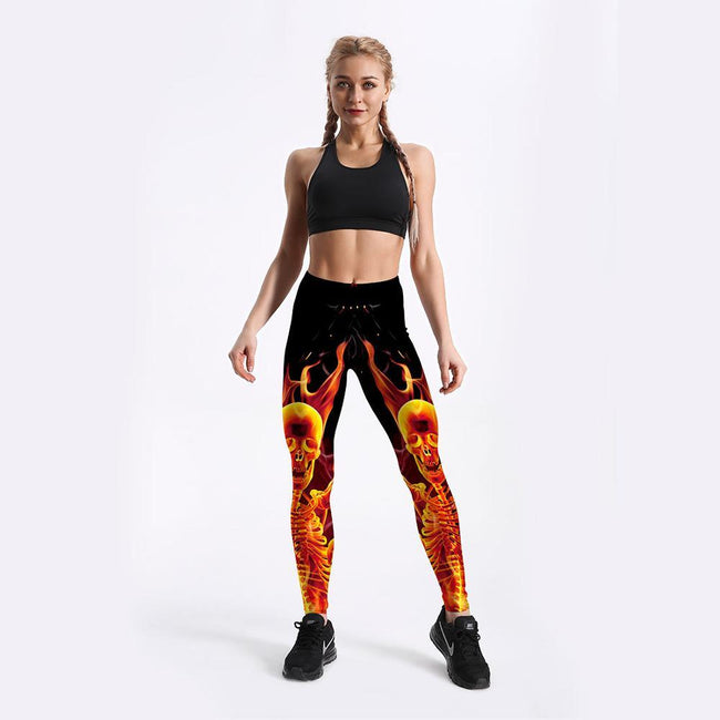 Women 3D Fire Skull Print Jogging Pants workoutleggings