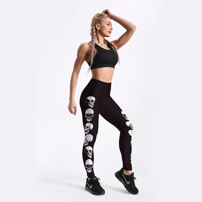 Women Black Skull Exercise Leggings workoutleggings
