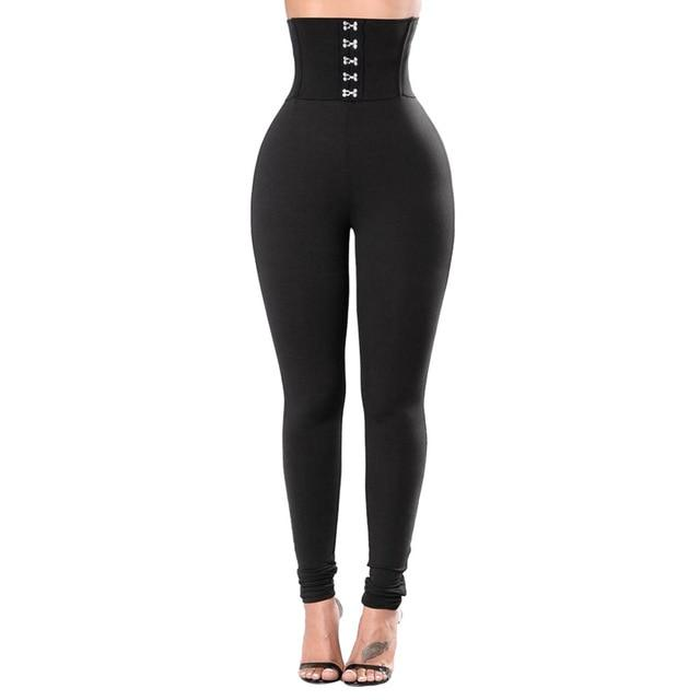 Women Corset Belt High Waist Leggings workoutleggings Black Small
