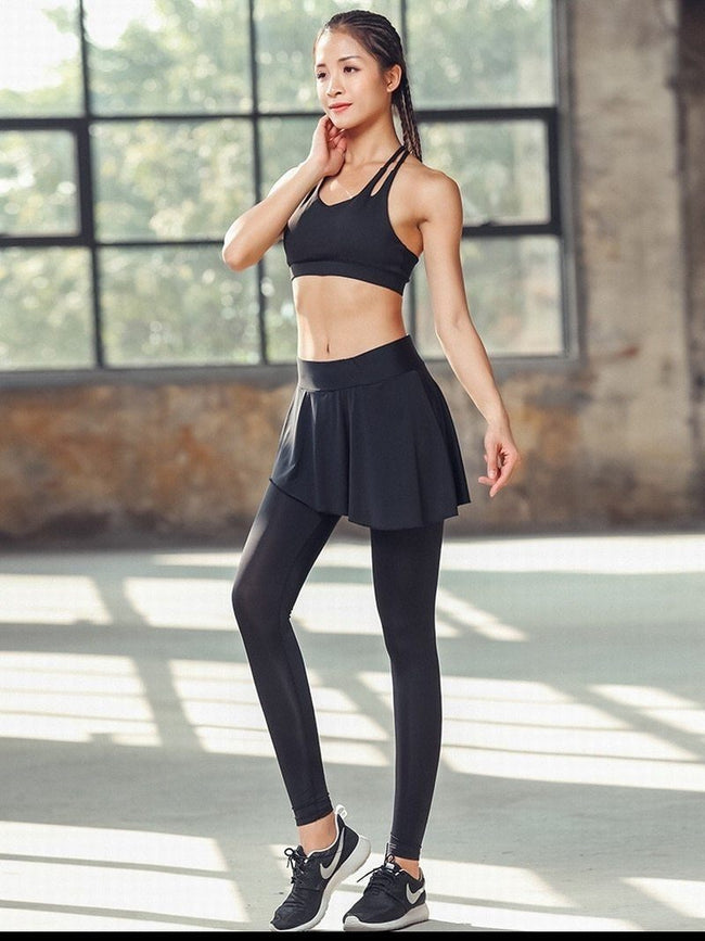 Women Elastic Yoga Pants With Skirt workoutleggings