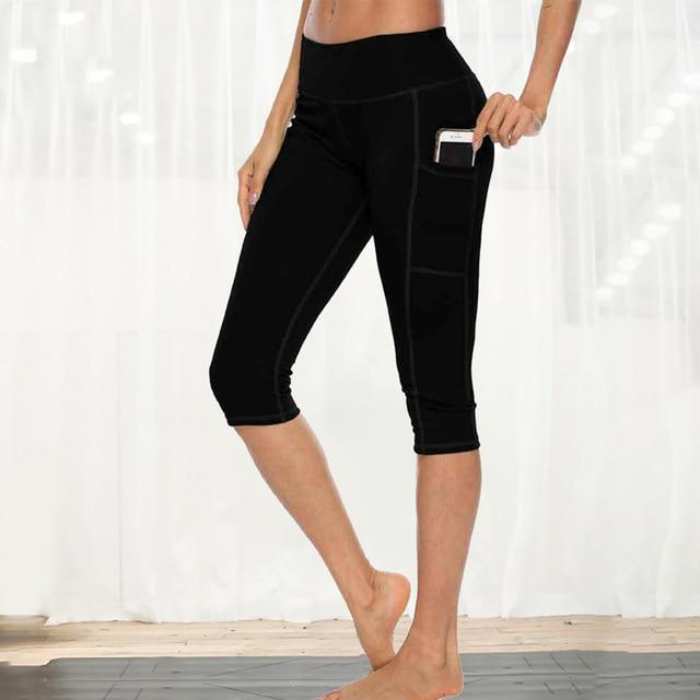 Women Fitness Workout Capri workoutleggings black style 1 Xtra Large