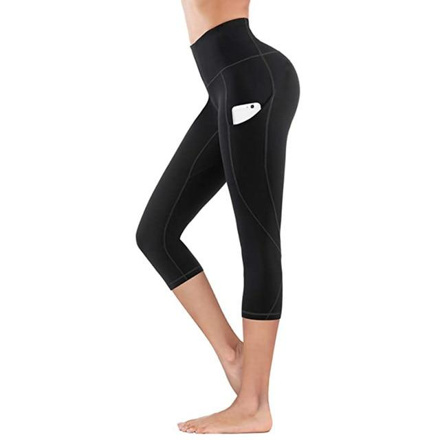 Women Fitness Workout Capri workoutleggings black style 2 Small