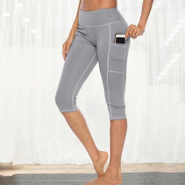 Women Fitness Workout Capri workoutleggings gray style 1 Medium