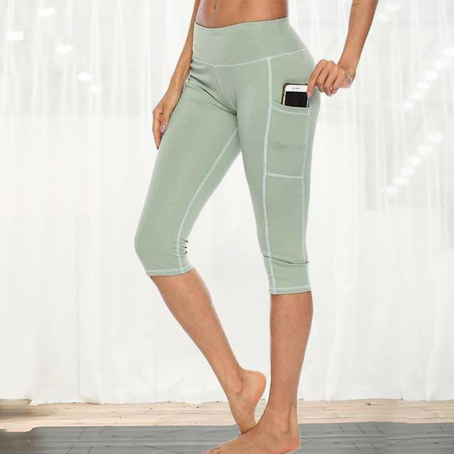 Women Fitness Workout Capri workoutleggings green style 1 Xtra Large
