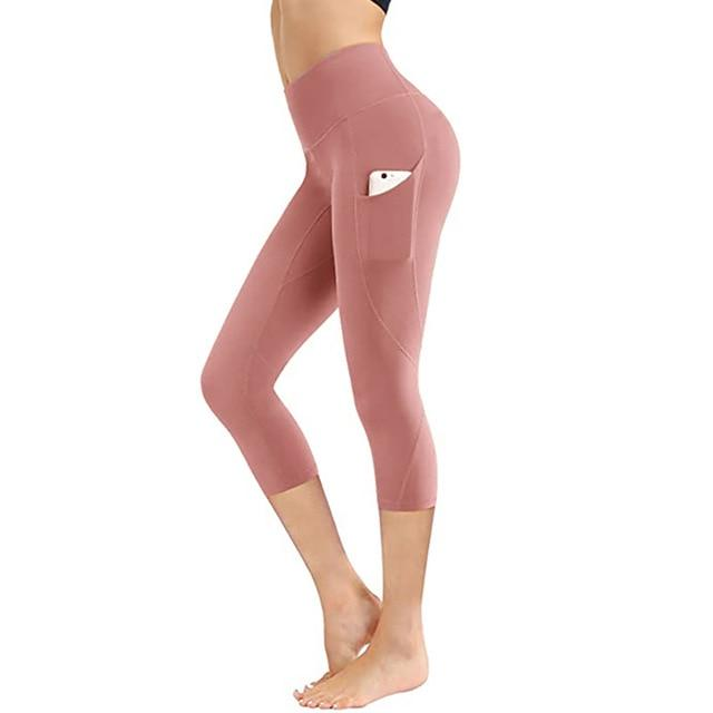 Women Fitness Workout Capri workoutleggings pink style 2 Small