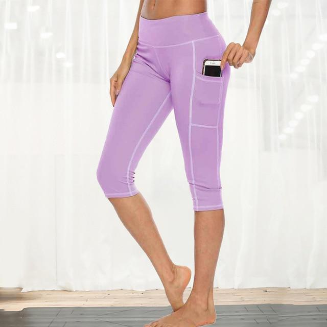 Women Fitness Workout Capri workoutleggings purple style 1 Xtra Large