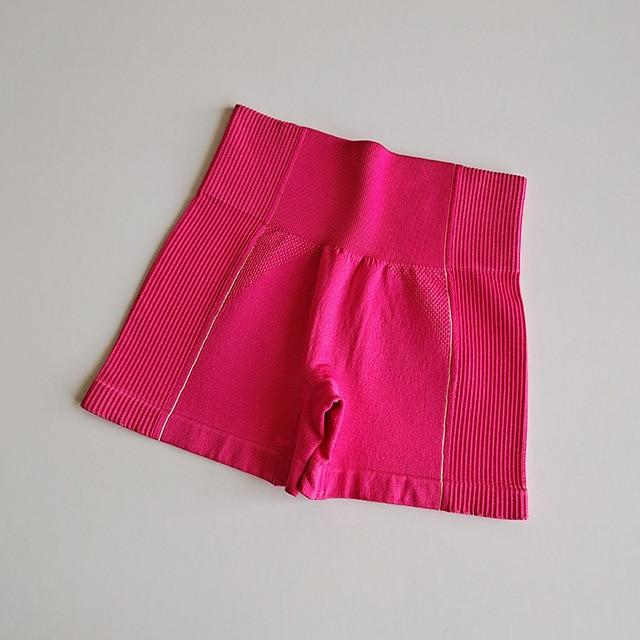 Women High Rise Yoga Shorts workoutleggings Hot Pink Small