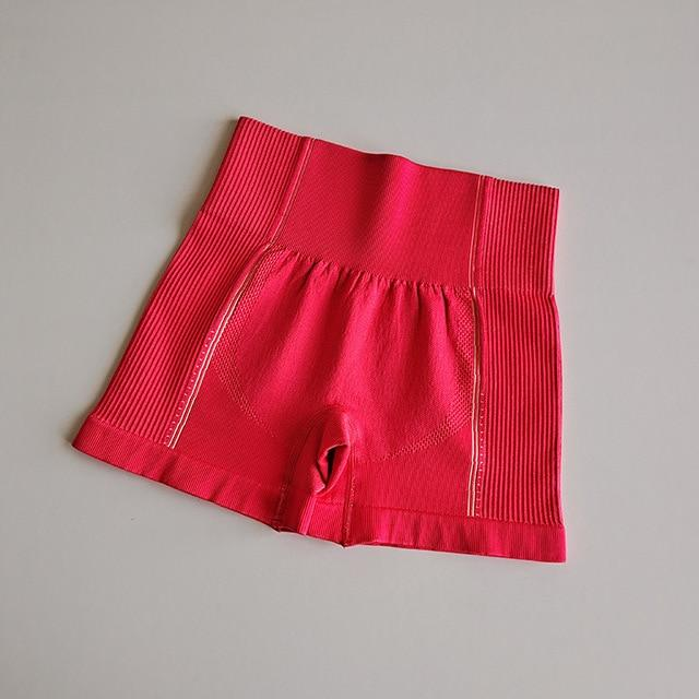 Women High Rise Yoga Shorts workoutleggings Watermelon Red Large