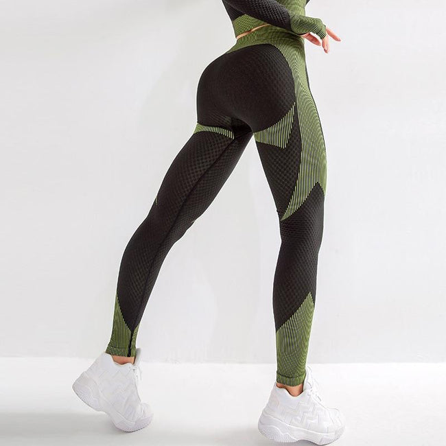 Women High Waist Seamless Yoga Leggings workoutleggings black green Large