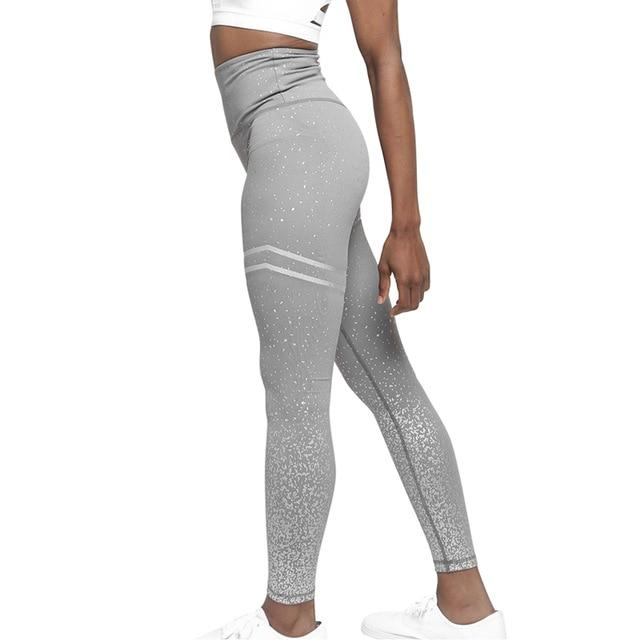 Women High Waist Stripped Yoga Leggings workoutleggings StyleE-gray Xtra Large