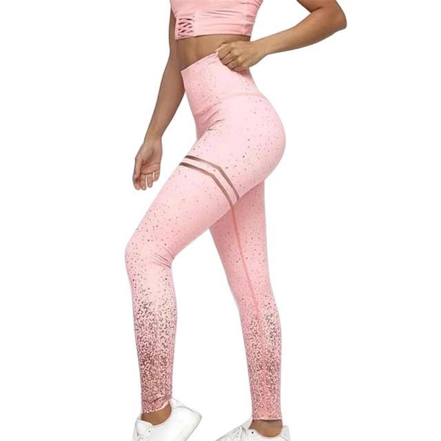 Women High Waist Stripped Yoga Leggings workoutleggings StyleE-pink Xtra Large