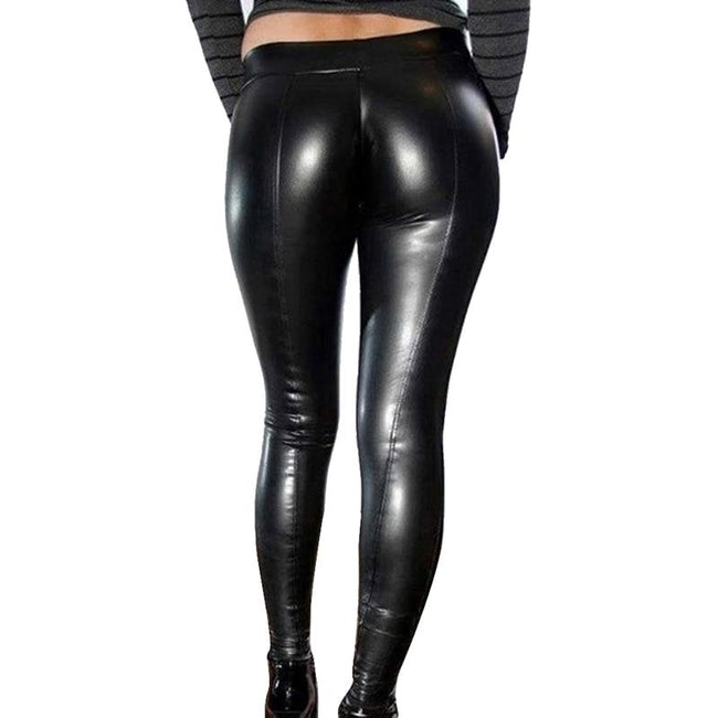 Women Leather Stretch Yoga Pants workoutleggings