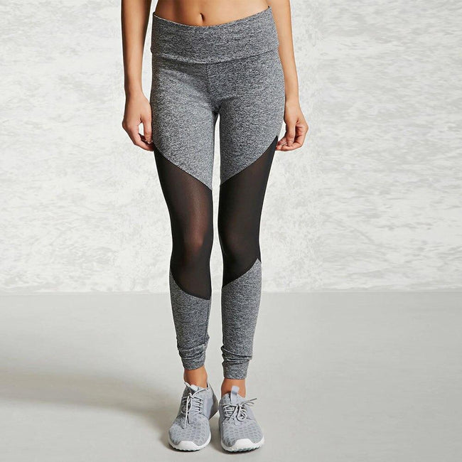 Women Mesh Patchwork Sports Leggings workoutleggings Gray Xtra Large CHINA