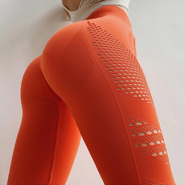 Women Push Up Yoga Pants workoutleggings Orange Large