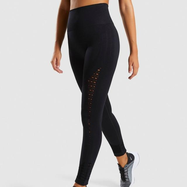 Women Seamless Hip Push Up Leggings workoutleggings black Large