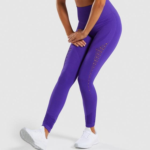 Women Seamless Hip Push Up Leggings workoutleggings indigo Large
