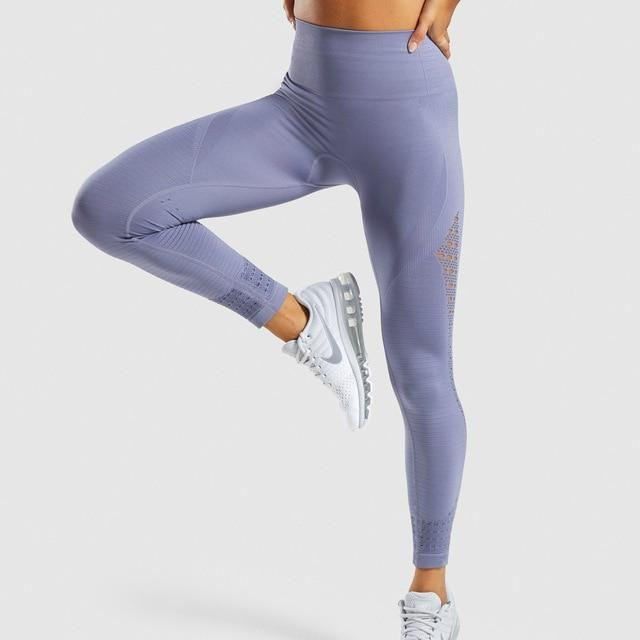 Women Seamless Hip Push Up Leggings workoutleggings steel blue Large