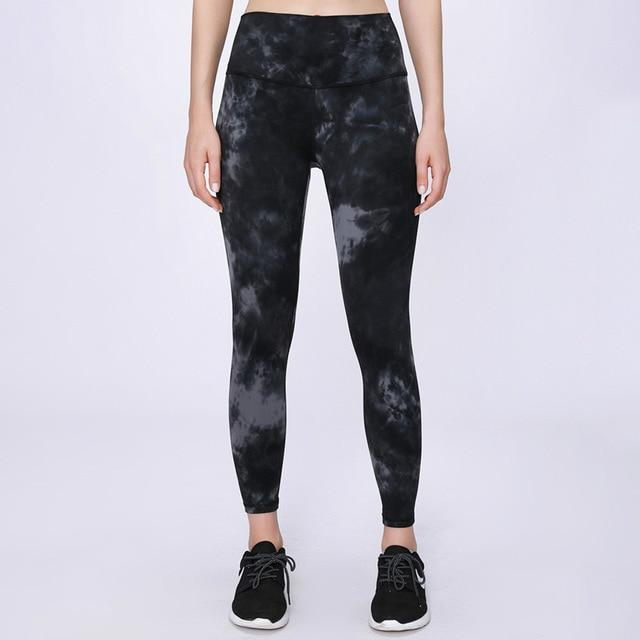 Women Tie Dye Buttery-Soft Yoga Leggings workoutleggings Tie Dye Black Small