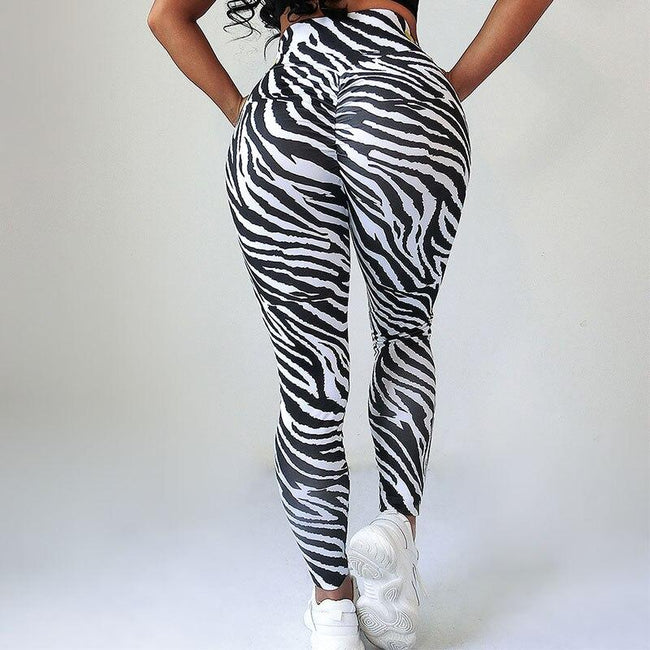 Zebra pattern printed sports gym leggings workoutleggings