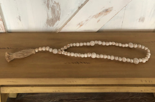 Hand Crafted Wood Carved White Rosary Beads- medium